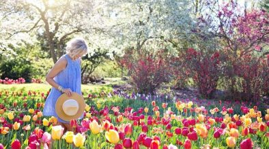 norht facing gardenw ith woman walking amongst flowers
