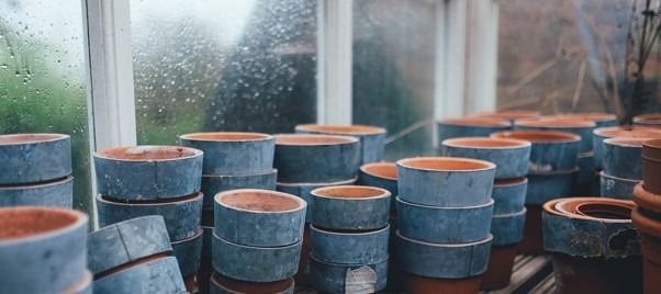 clay pots stacked up
