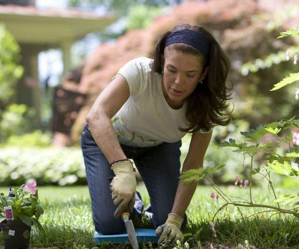 women gardening outside