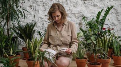 Women sat amongst plants