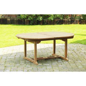 Oval Teak Extending Patio Dining Table