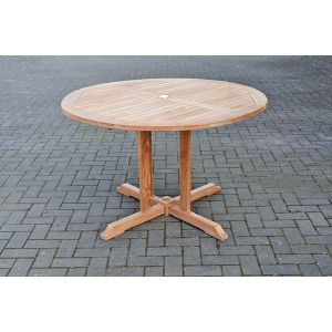 round wooden patio table