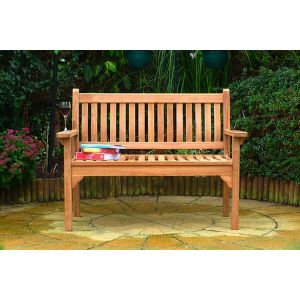 Westminster Flat Arm Teak Bench 2 Seater 1.2m