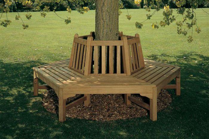 Hexagonal Teak Tree Bench