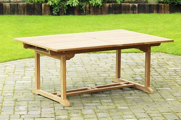 Rectangle Teak Extending Patio Dining Table